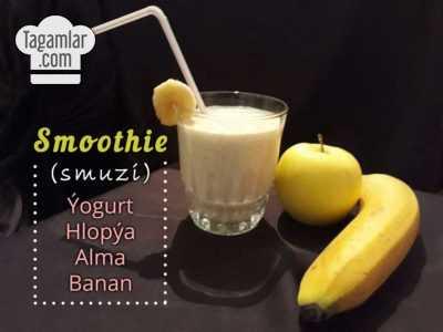 Smoothie banan, alma, hlopya (smuzi)