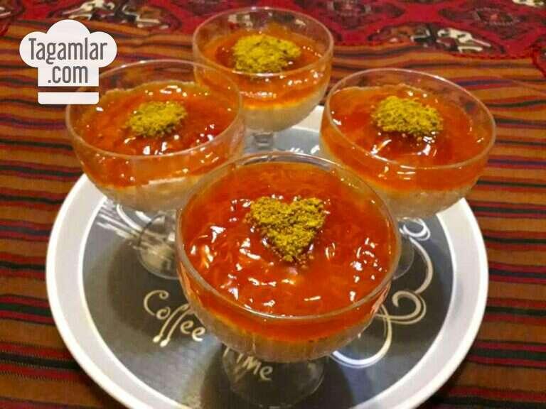 Süýtli karamelli desert surat 6