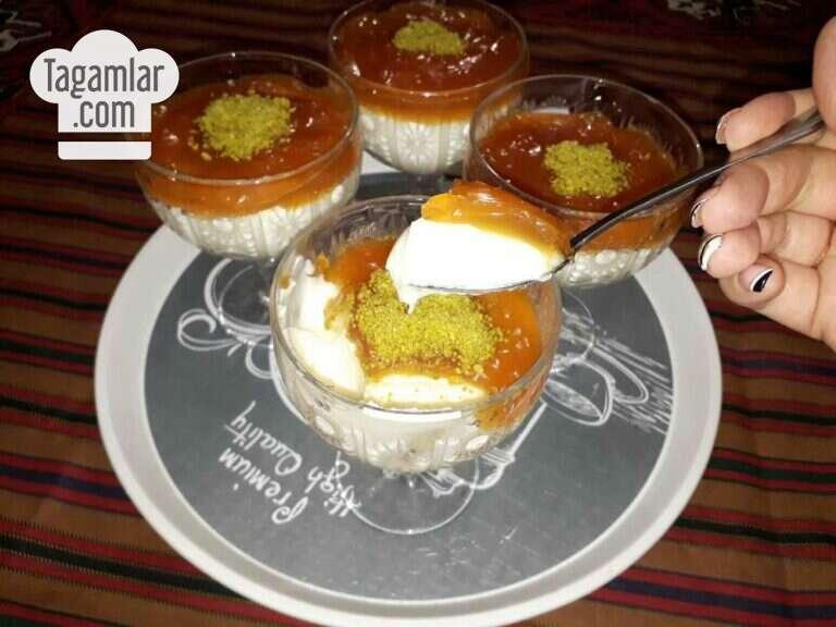 Süýtli karamelli desert surat 7